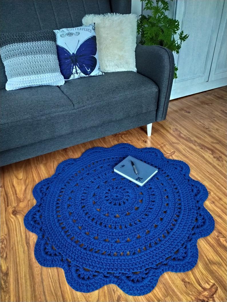 Crochet Rug Cotton Carpet Blue Rug Crocheted Carpet Bathroom Rug Bedroom Rug Nursery Rug Round Carpet Cotton Rug Doily Doormat
