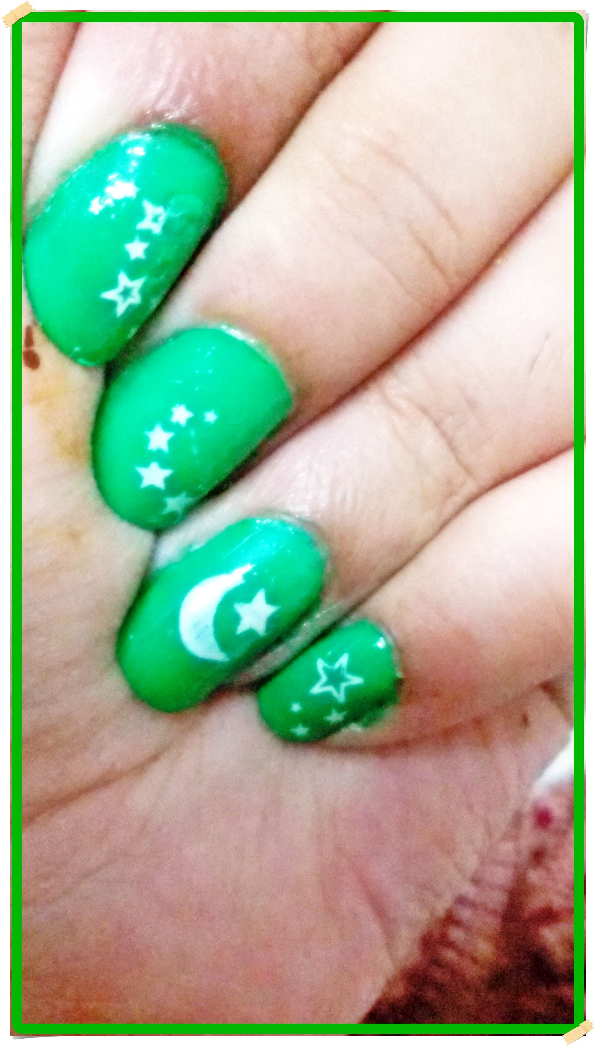 Pakistan Independence Day Nail Art! I used four plates. The crescent ...