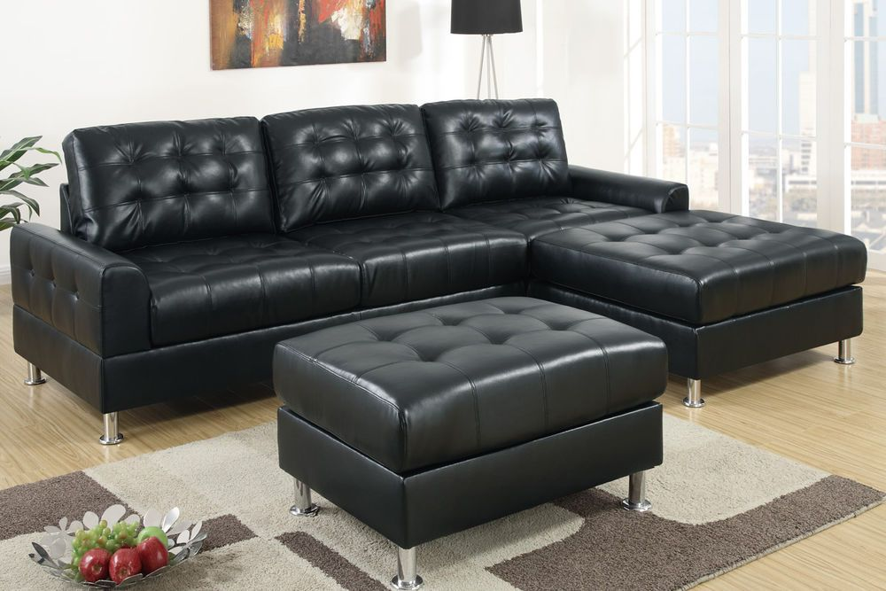 Sectional Sofa Black Sectional Chaise Bonded Leather Sofa 2 Pcs