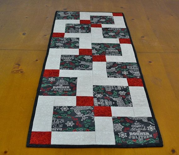 Christmas Table Runner - Quilted Patchwork Primitive Table Topper ...