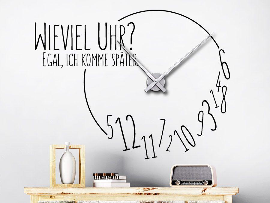 Uhr Ich Komme Später Wanduhr Wandtattoo Uhren