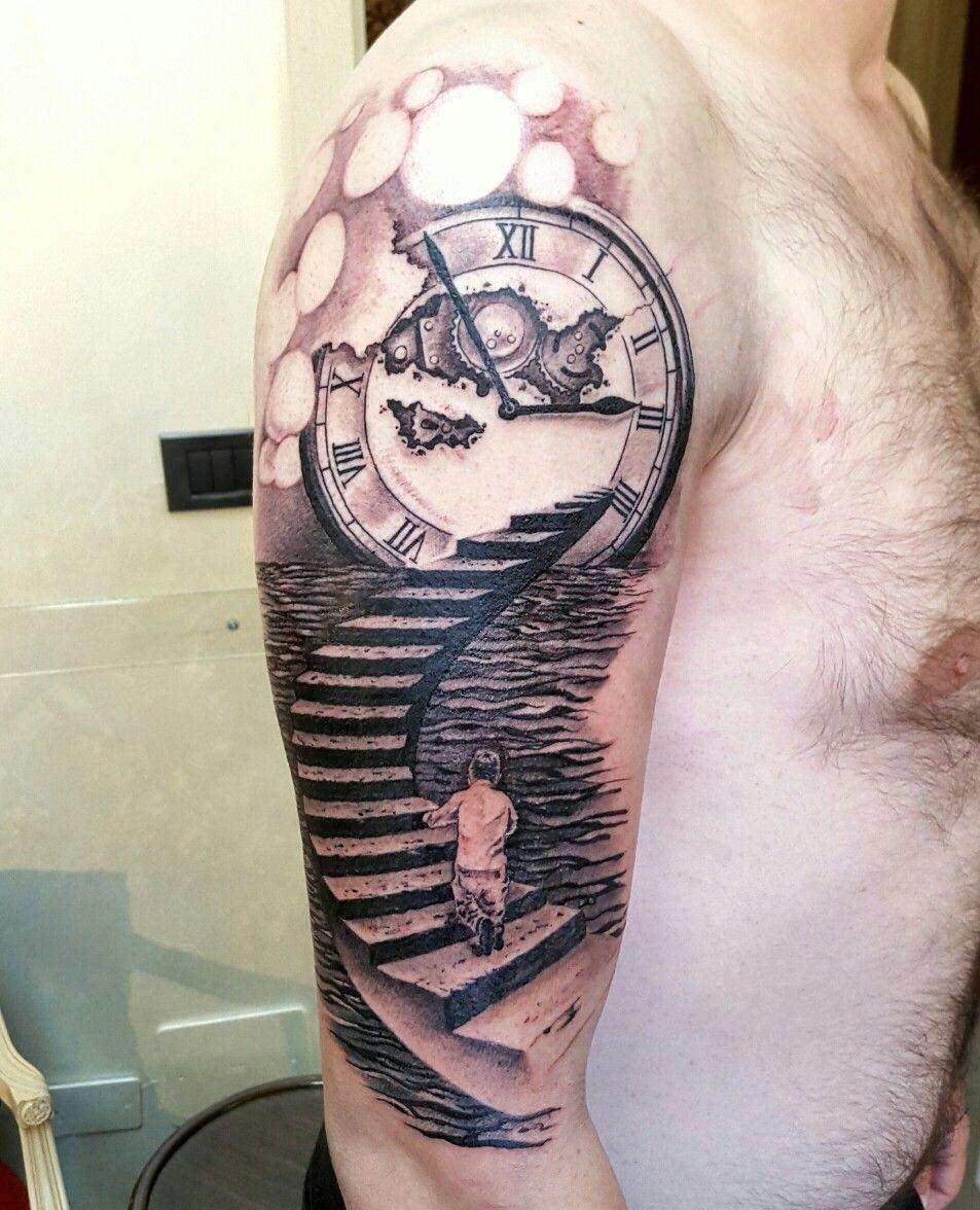 il tempo di una vita alexnardini alextattoo tattooplanet tattoo blackandgrey clock. Black Bedroom Furniture Sets. Home Design Ideas