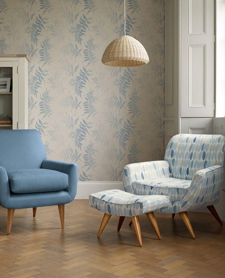 Laura Ashley Furniture Usa: Cool Blue & White Wallpaper