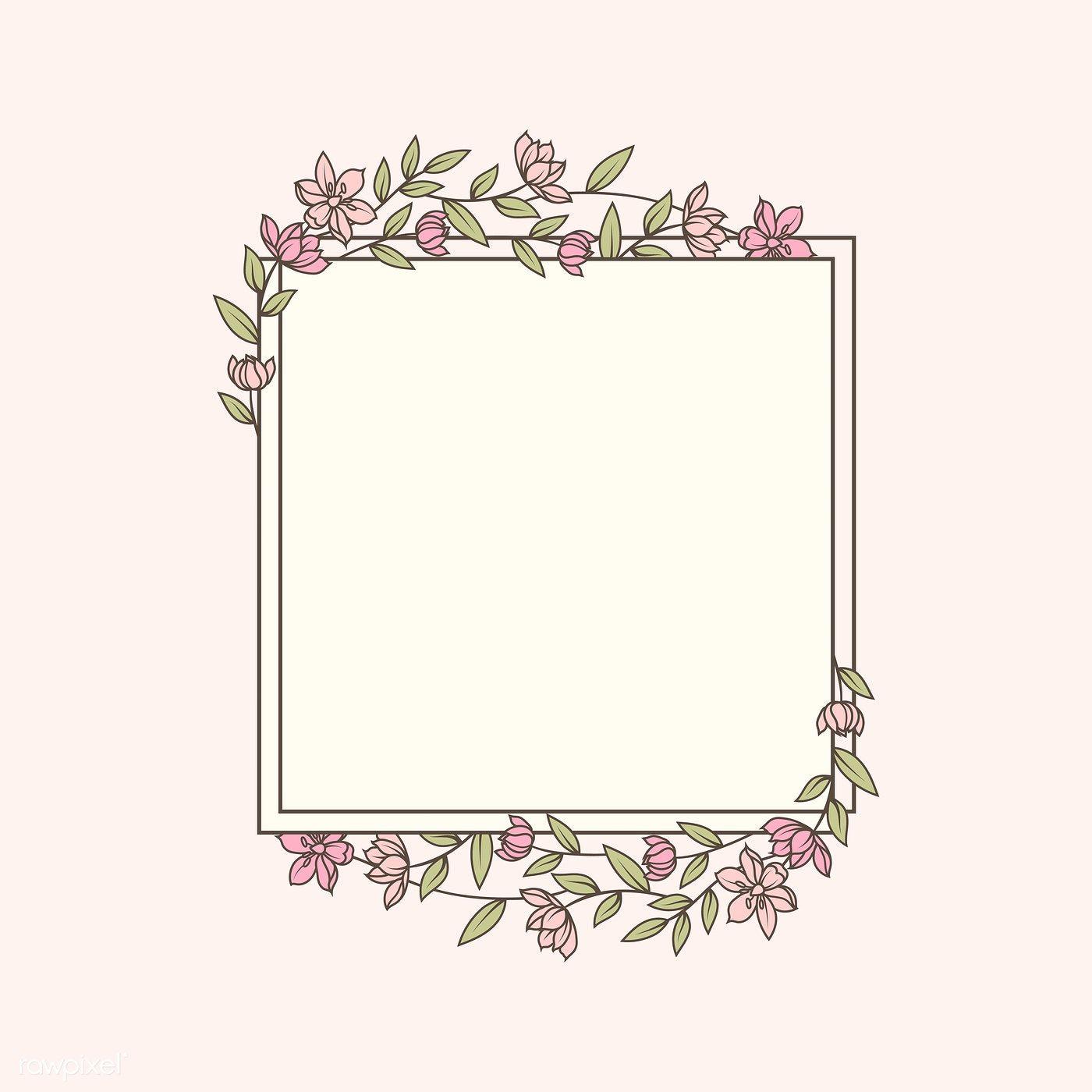 Frame Decorated With Flowers Vector Free Image By Rawpixel Com Manotang Floral Border Design Floral Logo Design Doodle Frames