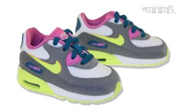 meilleur site web c6b99 47bdc Photo Nike Air Max 90 2007 (TD) - Blanc Gris Rose et Jaune ...