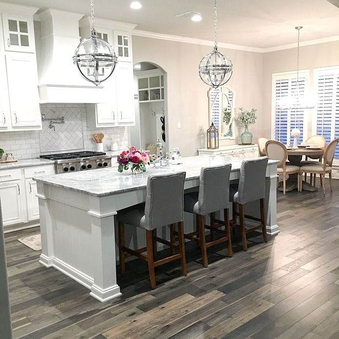 Best White Kitchen With Grey Stained Hardwood Floors White 640 x 480