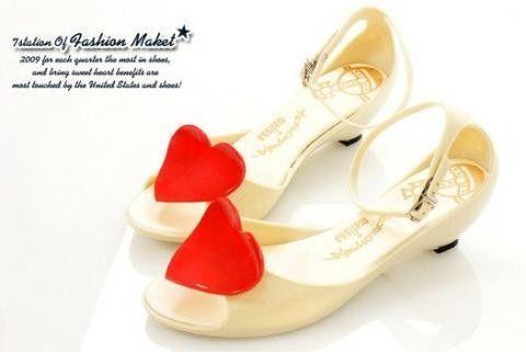Vivienne Westwood Melissa Heart Shoes Ankle Strap Cream HDX1012-020