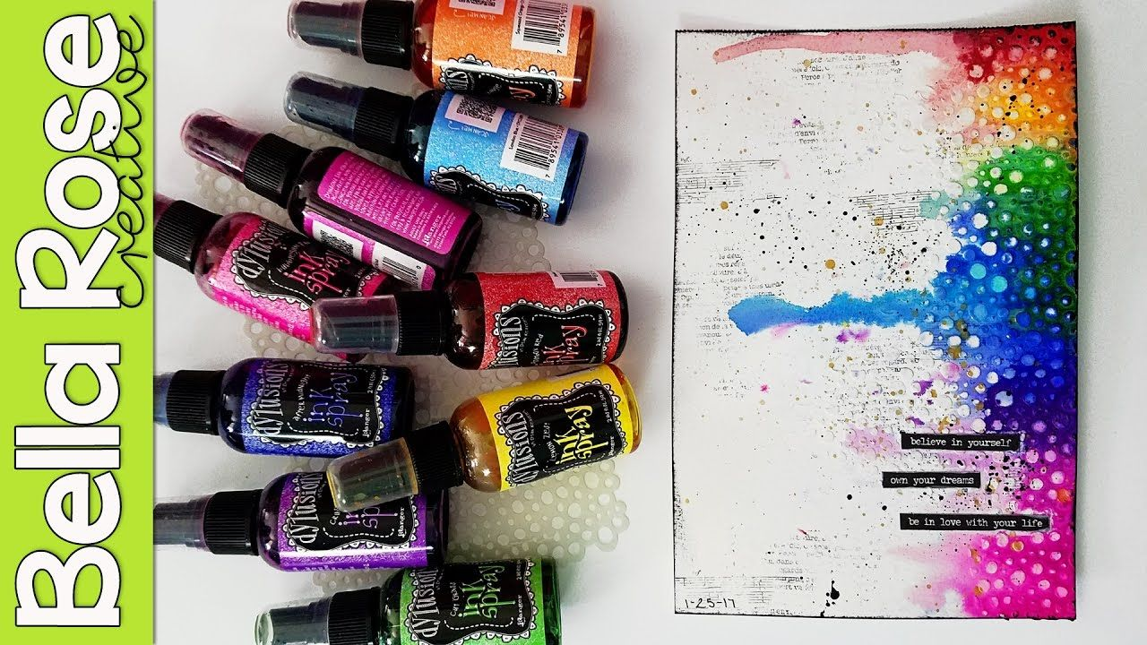 Easy 20 Minute Rainbow Mixed Media Art Journal Page  Dylusions  Ink Spra...