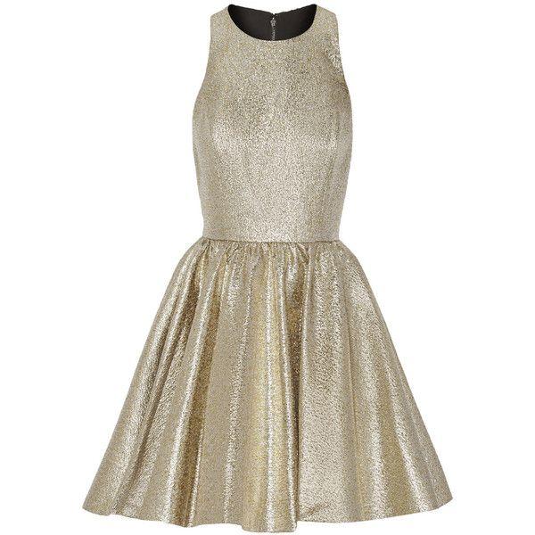 Alice + Olivia Tevin racer-back lamé mini dress (630 BRL) ❤ liked on Polyvore featuring dresses, vestidos, short dresses, cocktail dresses, lame dress, short brown dress, mini dress, alice olivia dress and racer back dress