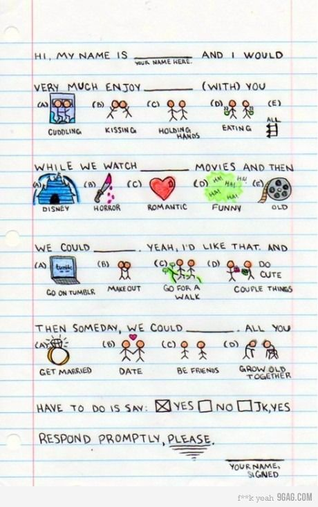 Say Yes Cute Notes Cute Date Ideas Cute Love Love notes to send to your boyfriend to make him feel special. pinterest