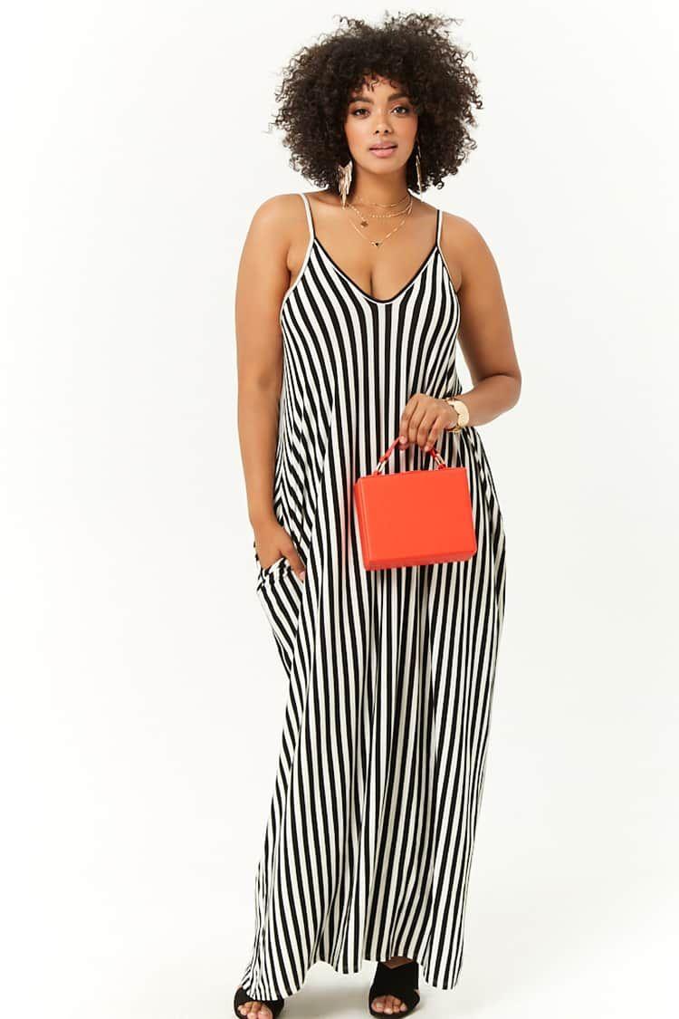 2bc9a92b85 Plus Size Striped Trapeze Maxi Dress