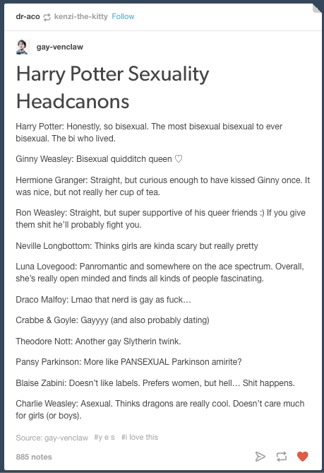 Even if they're not actually true they are fun (although we all know Draco is def gay af)