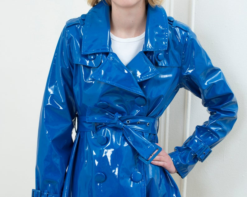90s Blue Vinyl Trenchcoat Medium Short Trench Raincoat Double Breasted Belted Bright Blue Shiny Jacket Minimalist Mod Rain Slicker In 2020 Shiny Jacket Blue Vinyl Red Leather Jacket