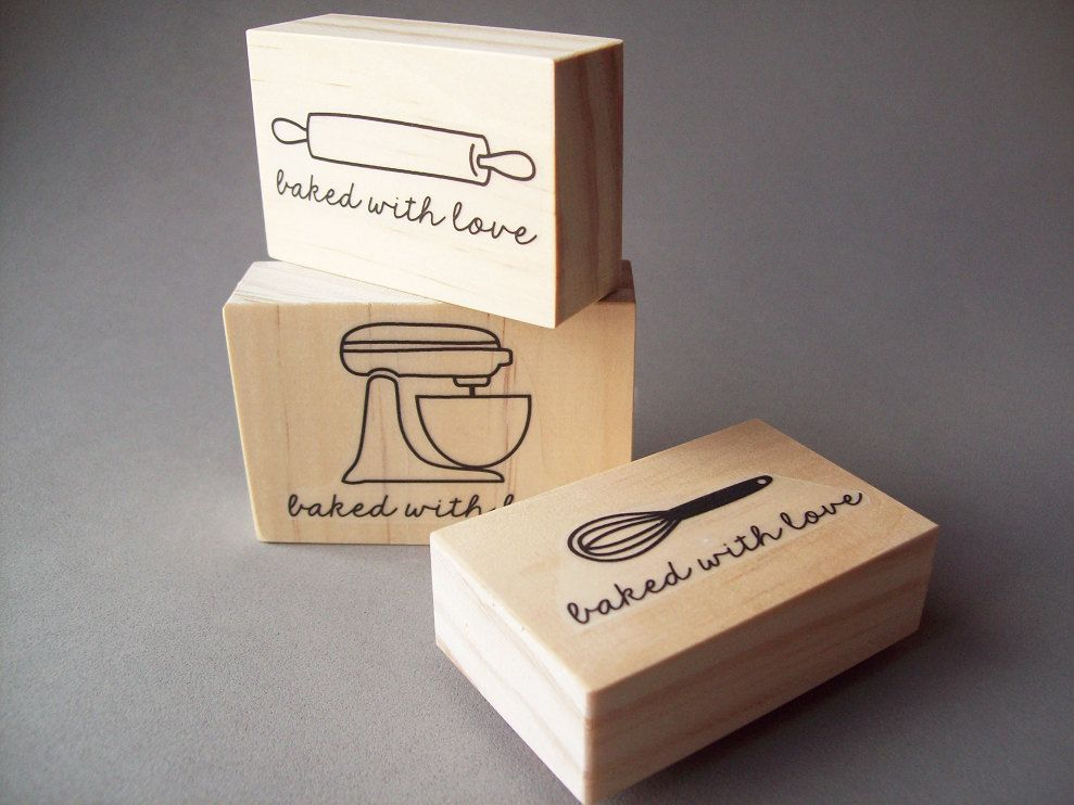 e13a9616fec9 Personalized Baking and Cooking Rubber Stamp, Baked with Love Stamp ...