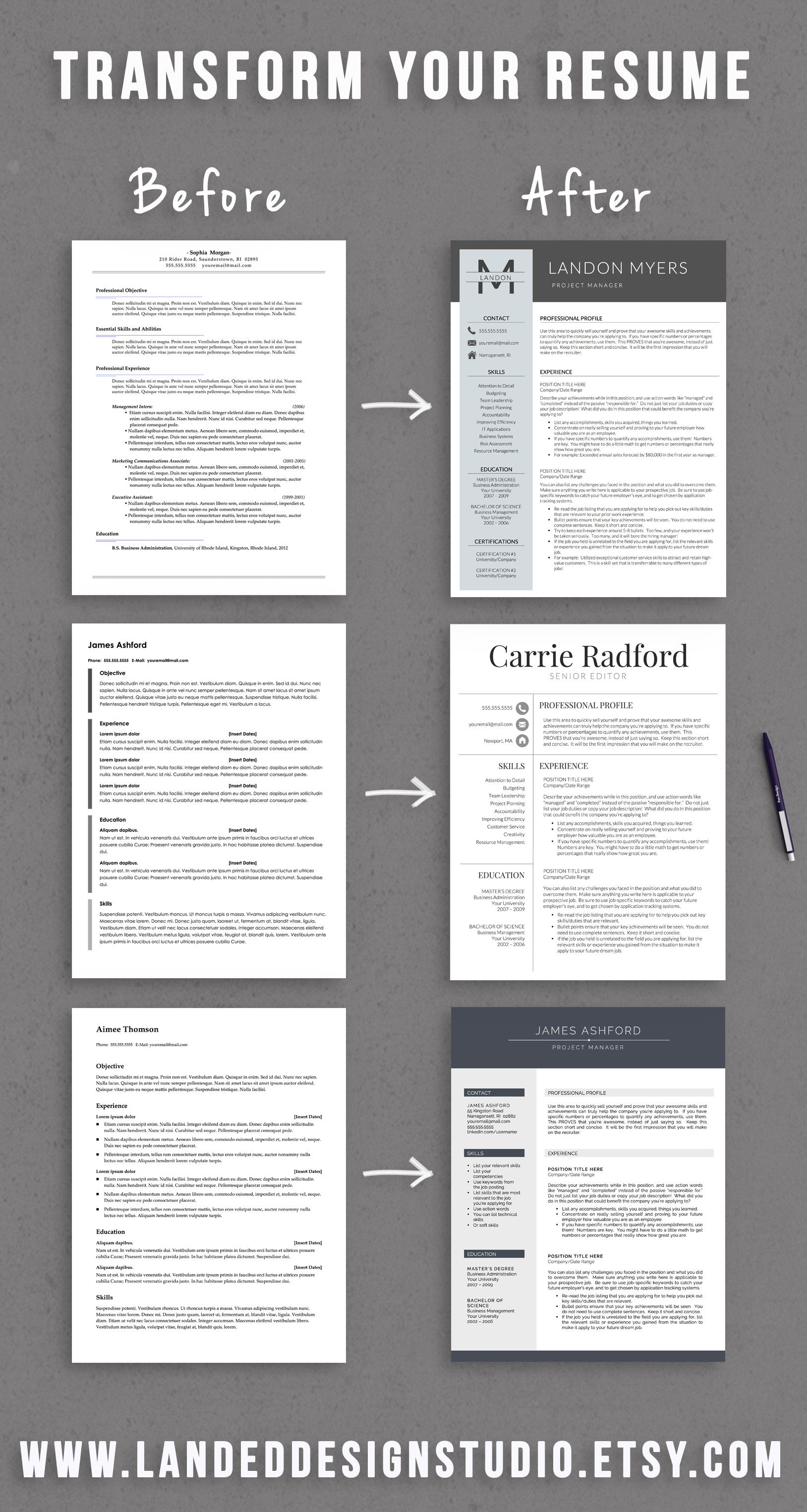 Completely Transform Your Resume For 15 With A Professionally Designed Resume Template Resume Tips Job Interview Tips Job Info