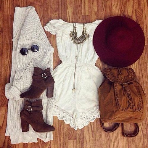White playsuit knitted cardi