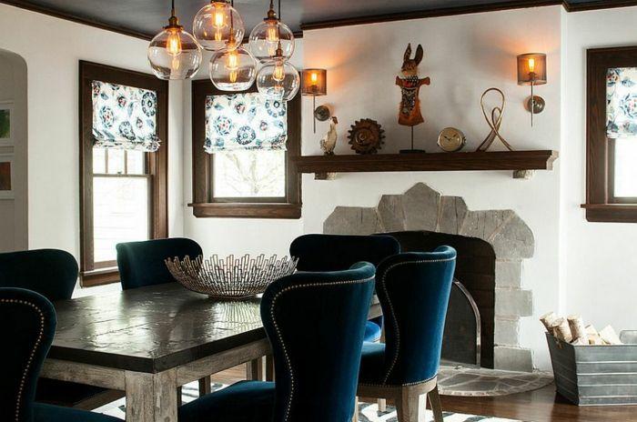 Rustikale Möbel Esszimmer Gestalten Esstisch Holz Polstersessel Blau