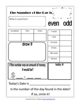 Number Of The Day Worksheet Free Everyday Math Math Activities Elementary Early Learning Math
