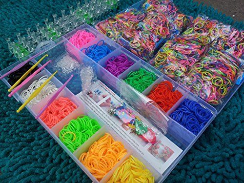 6000 large box of colourful loom bands latex free rubber bandz rh pinterest com What Are Loom Bands Loom Band Organizer