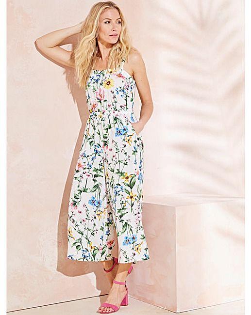 b6c557de3f4d5 White Floral Culotte Printed Jumpsuit