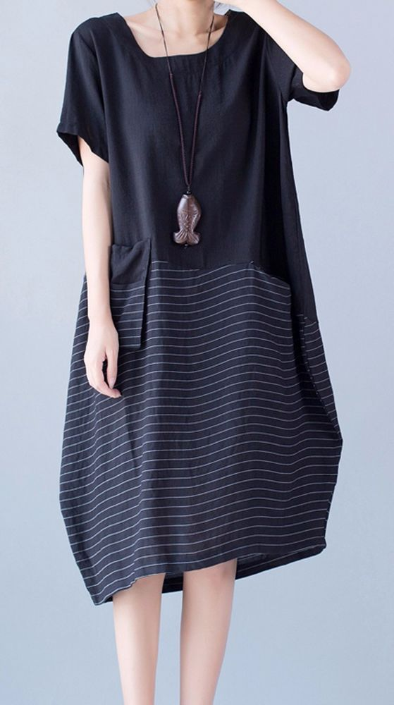 4b821b751242c Women loose fit over plus size stripes pocket dress linen maxi long tunic  casual #Unbranded #dress #Casual