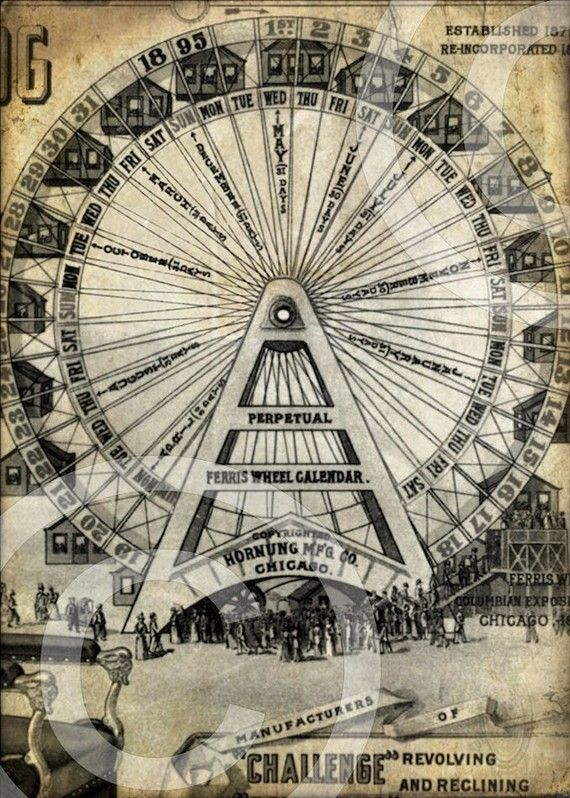 Carnival Ferris Wheel 5x7 Original Printable Vintage