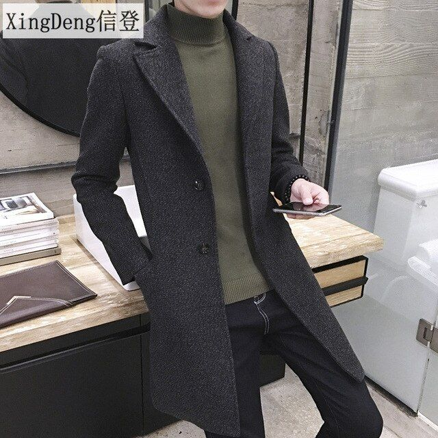 XingDeng Men's Spring Autumn Thick Wool Trench Warm Coat Men