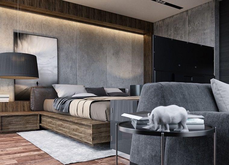 Arredamento Camera Da Letto Uomo : Arredamento camera da letto grigio mobili legno interni nel