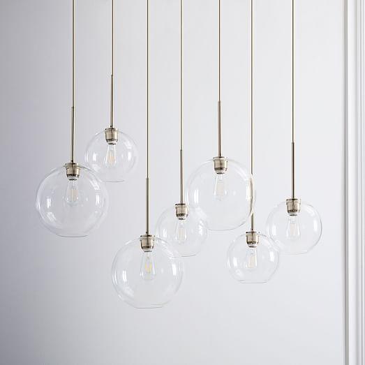 lighting globes glass. Sculptural Glass Globe 7-Light Chandelier - Mixed #westelm Lighting Globes E