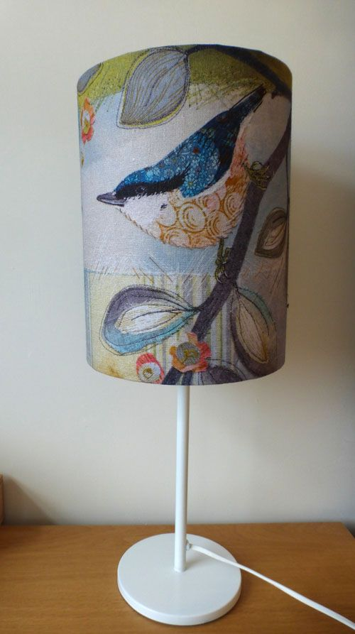 Lampshade made from a digital print onto linen of an original embroidery of a nuthatch