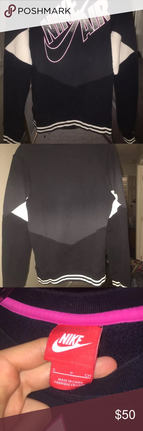 NWOT Men's Nike Crewneck !!! Men's size small fits women's s/m super comfy!! No fuzz on inside so it can be worn in the summer without getting too hot but also keeps you warm in the winter :) Nike Shirts Sweatshirts & Hoodies