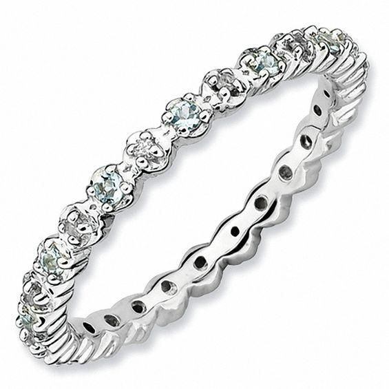 Zales Stackable Expressions White Topaz and Diamond Accent Eternity-Style Ring in Sterling Silver 1GBJBIxSV