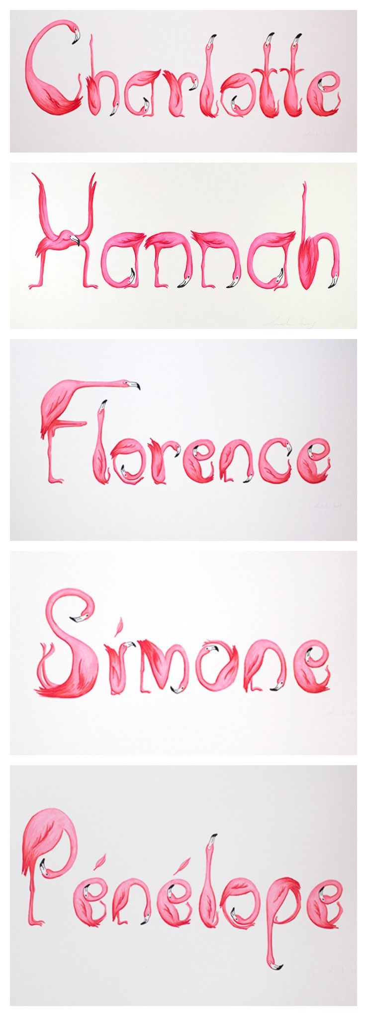 4 letter female names personalized pink flamingos prints with pink flamingos 10235