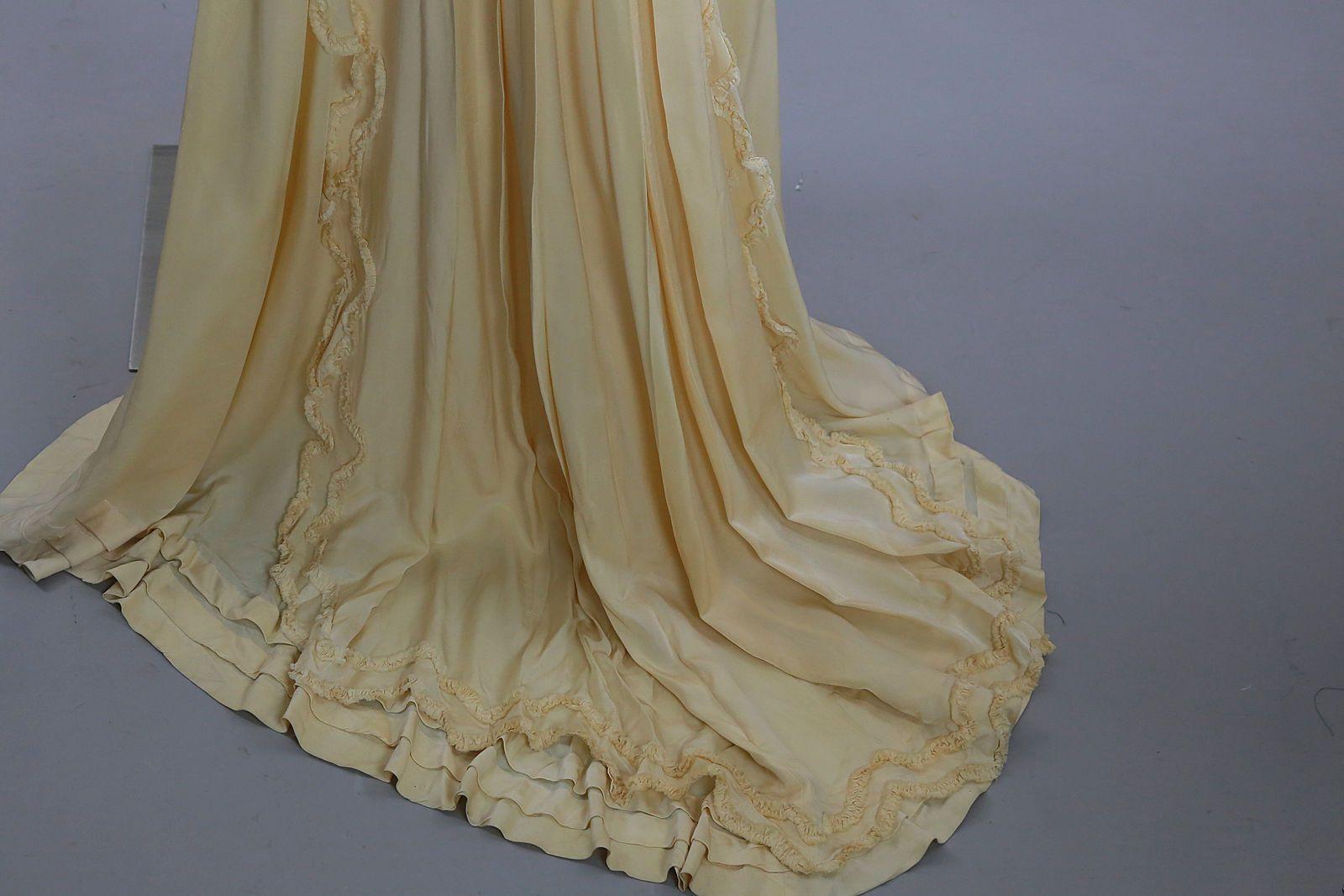 The bustle wedding dresses  Antique Victorian ivory silk bustle skirt trained bridal wedding