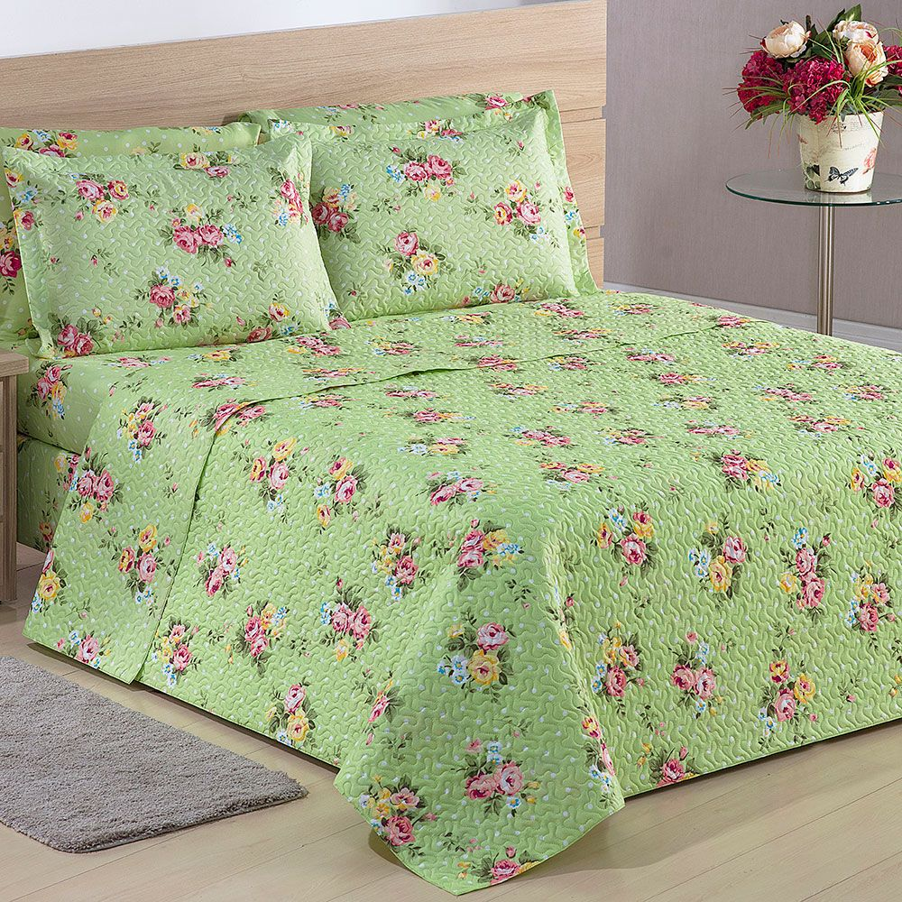 ef597e8764 Colcha Casal Matelassê Floral Verde + Porta Travesseiros