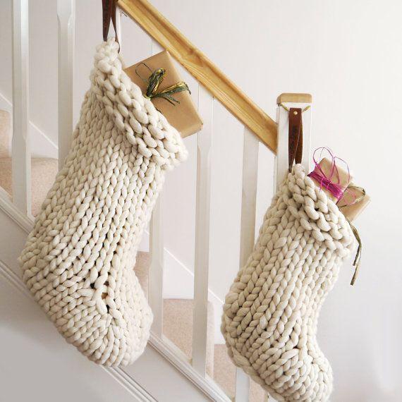 Chunky Knit White Christmas Stocking Traditional Hand Knit Christmas Stockings Scandinavian Christmas Decoration