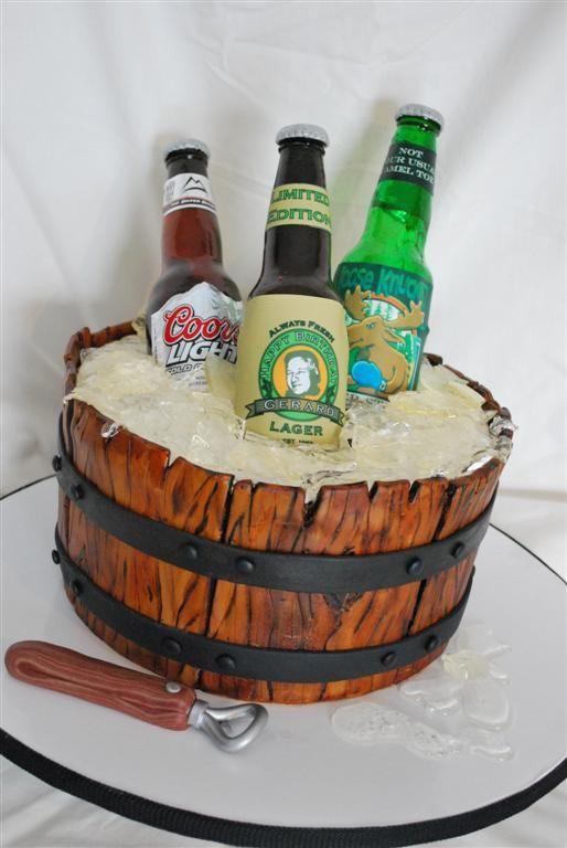 Beer In A Barrel Beer Wine Cigars Birthday Cake Beer Barrel Cake Beer Bottle Cake