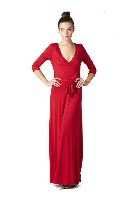 On Trend Womens Paris Solid Chevron 3/4 Sleeve Long Maxi Dress is on sale now for - 25 % !