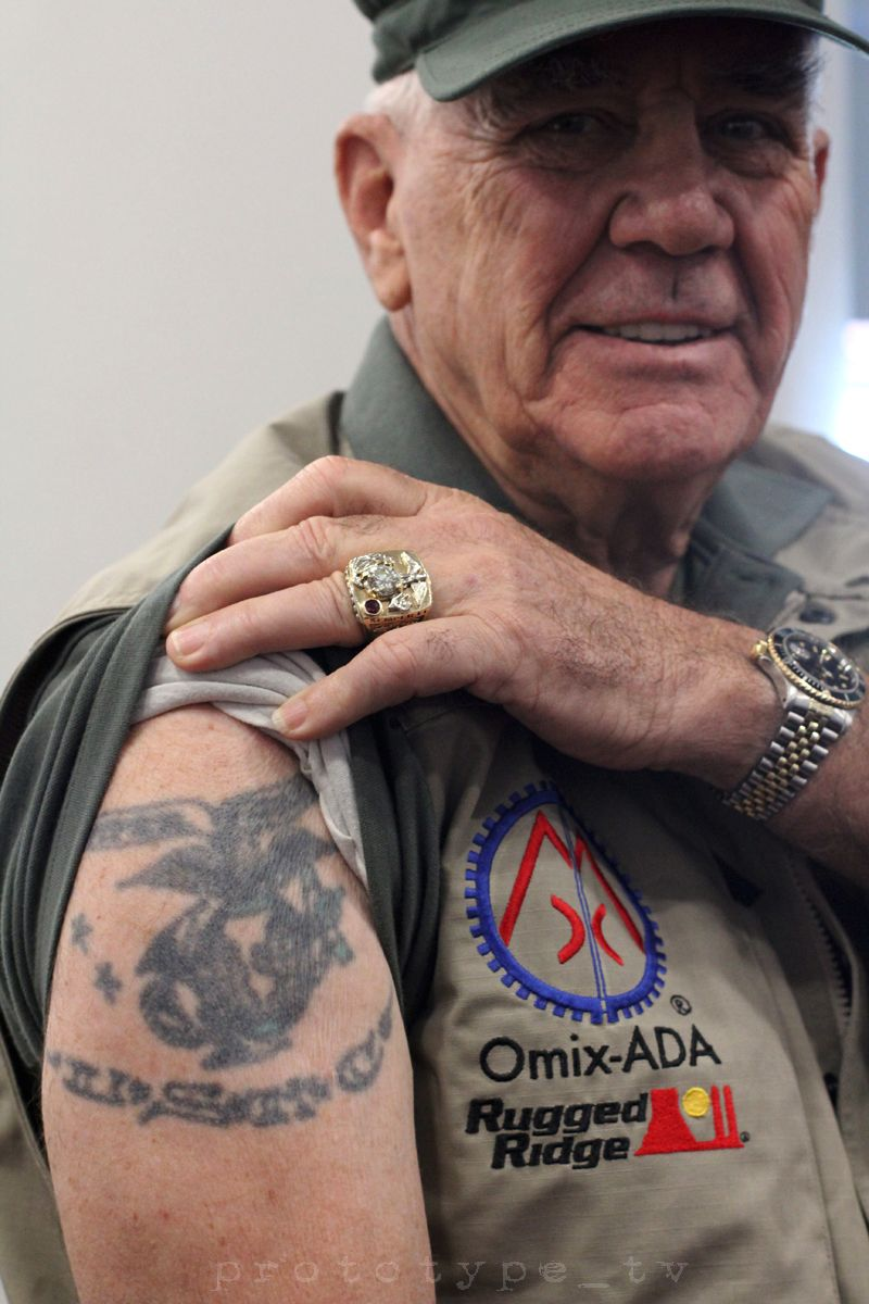 At sema 2014 r lee ermey full metal jacket showed me for Usmc sleeve tattoo ideas
