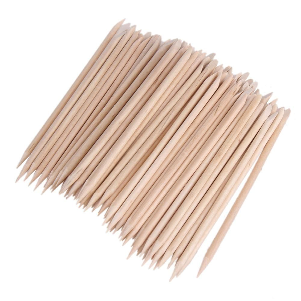 80-100pcs Nail Art Cuticle Pusher Orange Wood Stick Cuticle Pusher ...