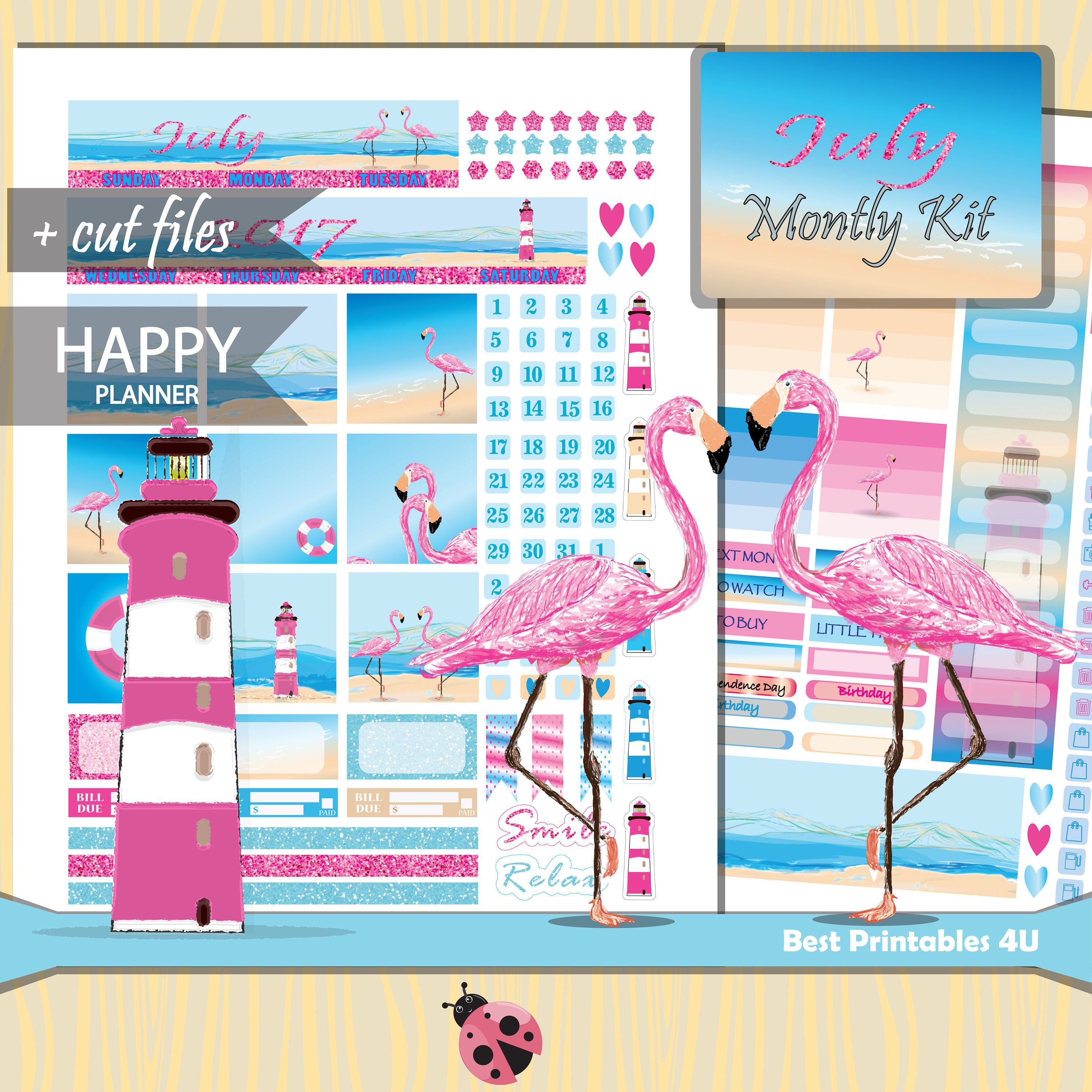 174d040255bdb July 2018 Planner Kit, CLASSIC Happy Planner Monthly Kit, July Happy ...