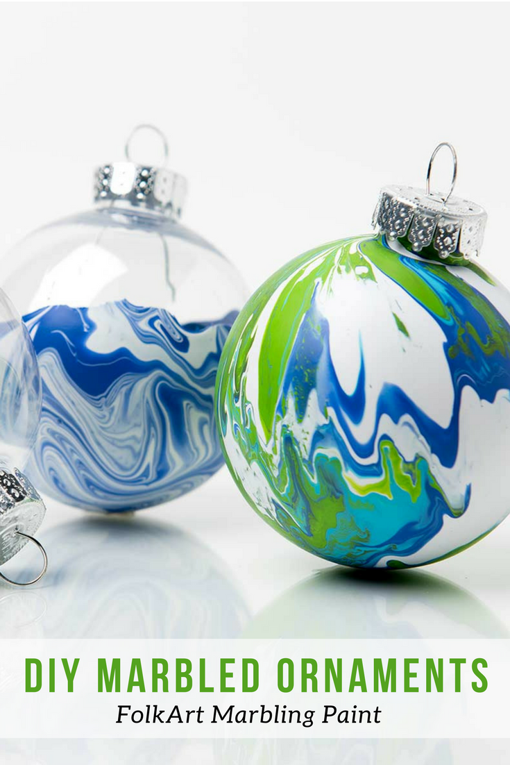 Make Your Own Diy Marbled Ornaments With Folkart Marbling Paint No Mixing Is Required Clic Diy Christmas Ornaments Arts Crafts Supplies Christmas Ornaments