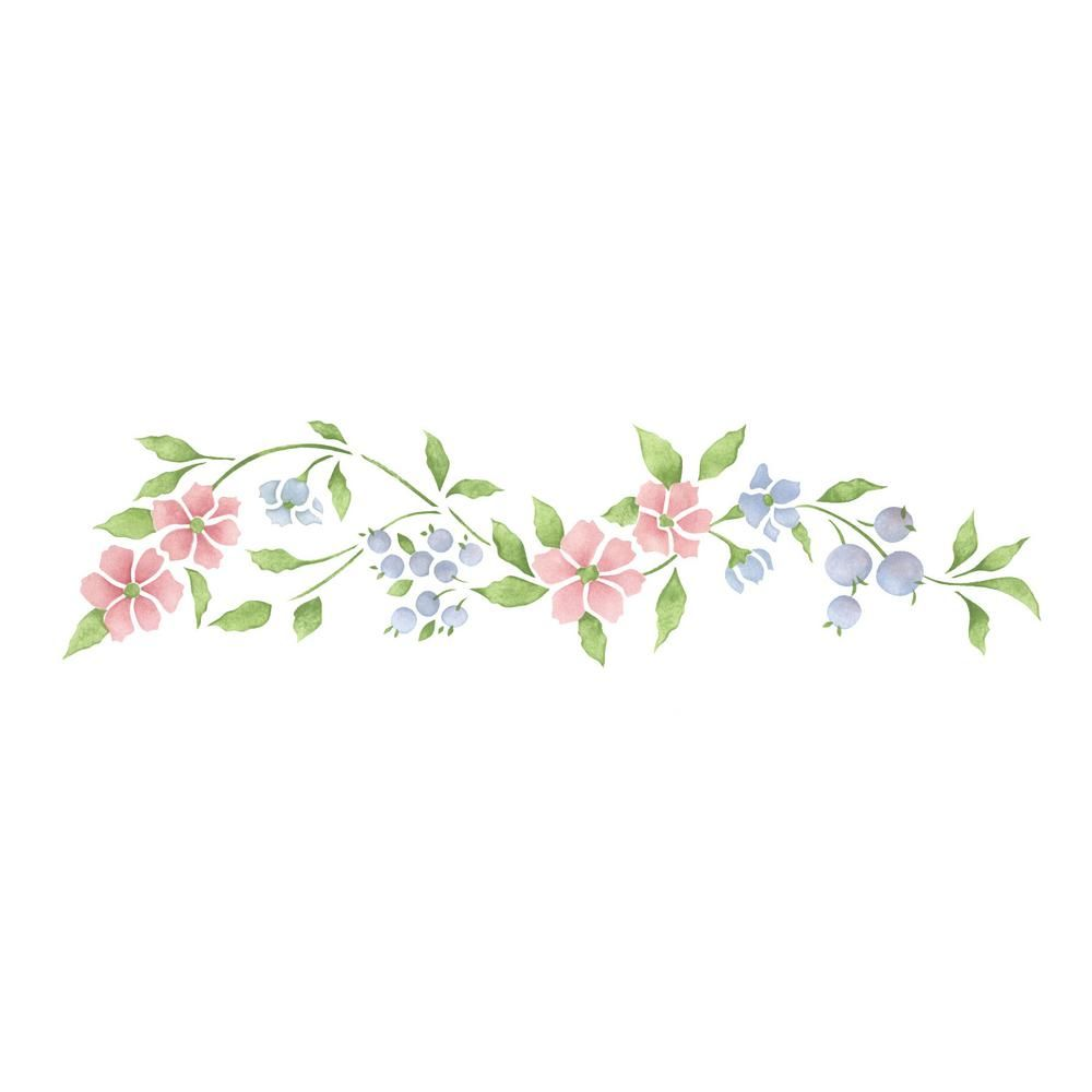 Designer Stencils Apple Blossom Wall Stencil 1694 The Home Depot In 2020 Floral Border Design Flower Stencil Vine Drawing