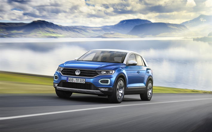 Download Wallpapers Volkswagen T Roc 4k 2018 Cars Road Blue T Roc Vw Volkswagen Besthqwallpapers Com Volkswagen Compact Suv Suv