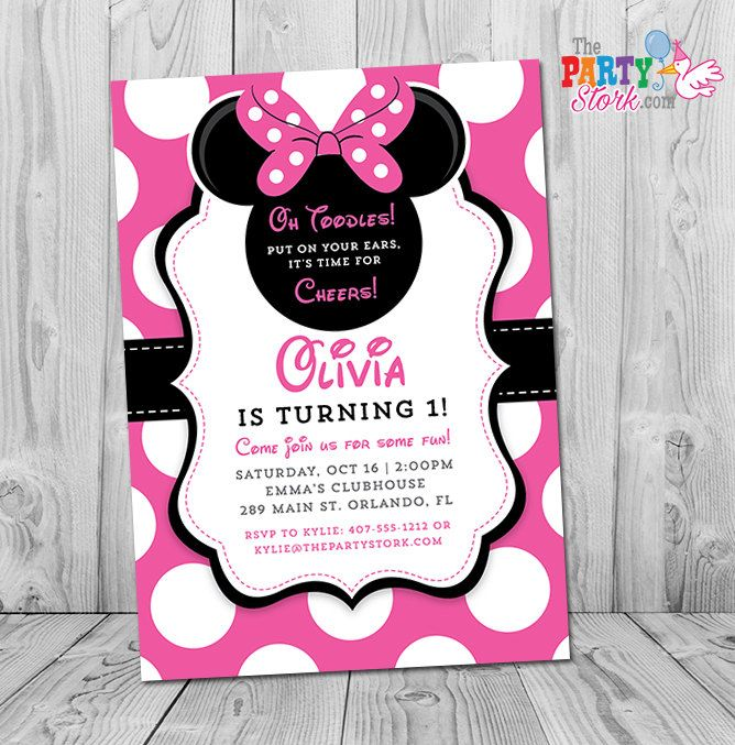 Minnie Mouse 1st Birthday Invitations Printable Girls Party Invitation Black White Polka Dots And Pink First Birthday Oh Toodles Minnie Mouse Birthday Invitations Minnie Invitations Minnie Mouse Invitations