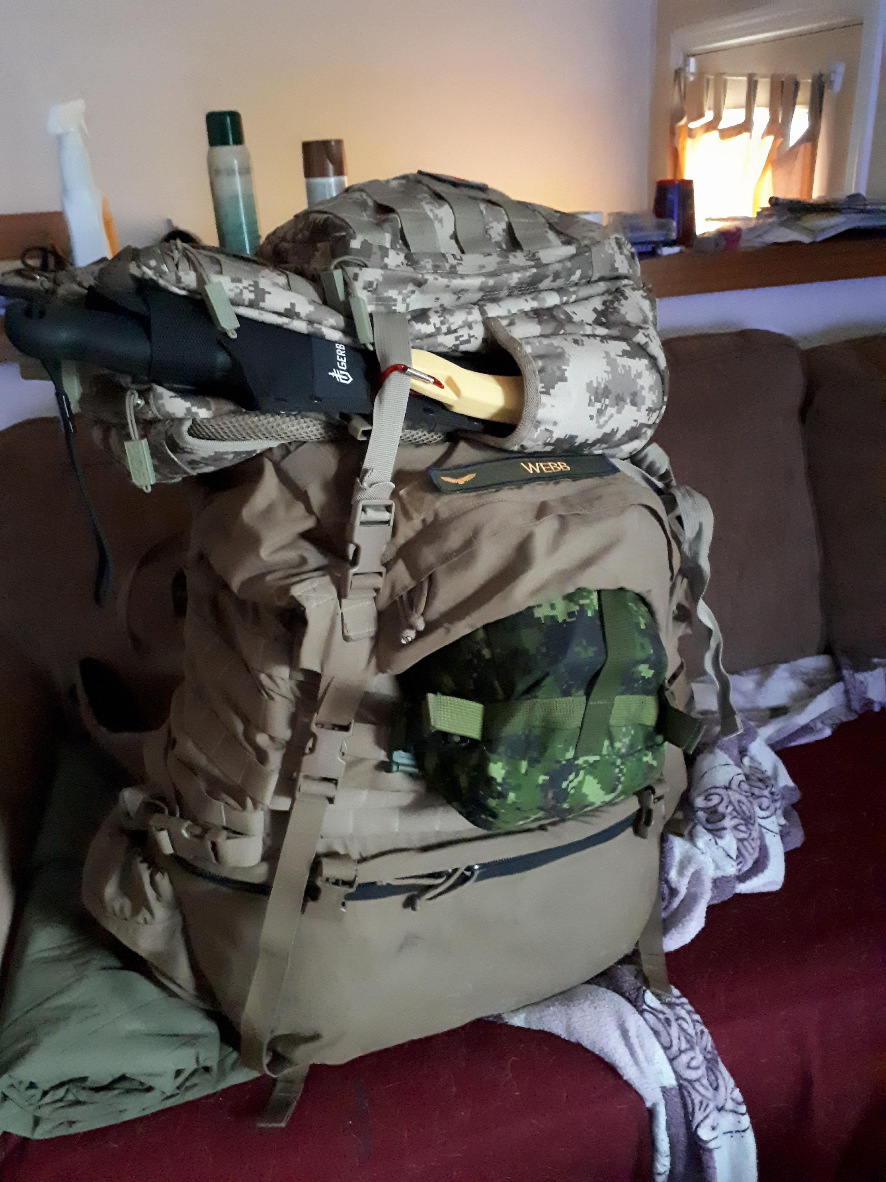 My USMC FILBE pack, SOG Ninja replacing the 3 day(expensive) assault pack