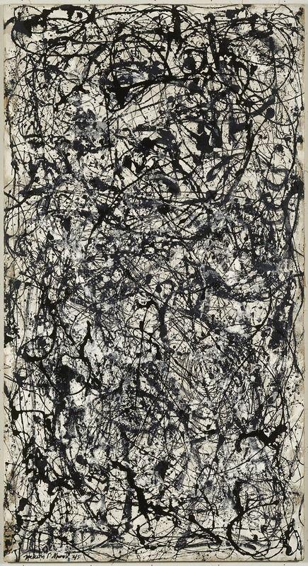 Pollock jackson 26a black and white 1948 peinture glycérophtalique sur toile 205x1217cm mnam paris