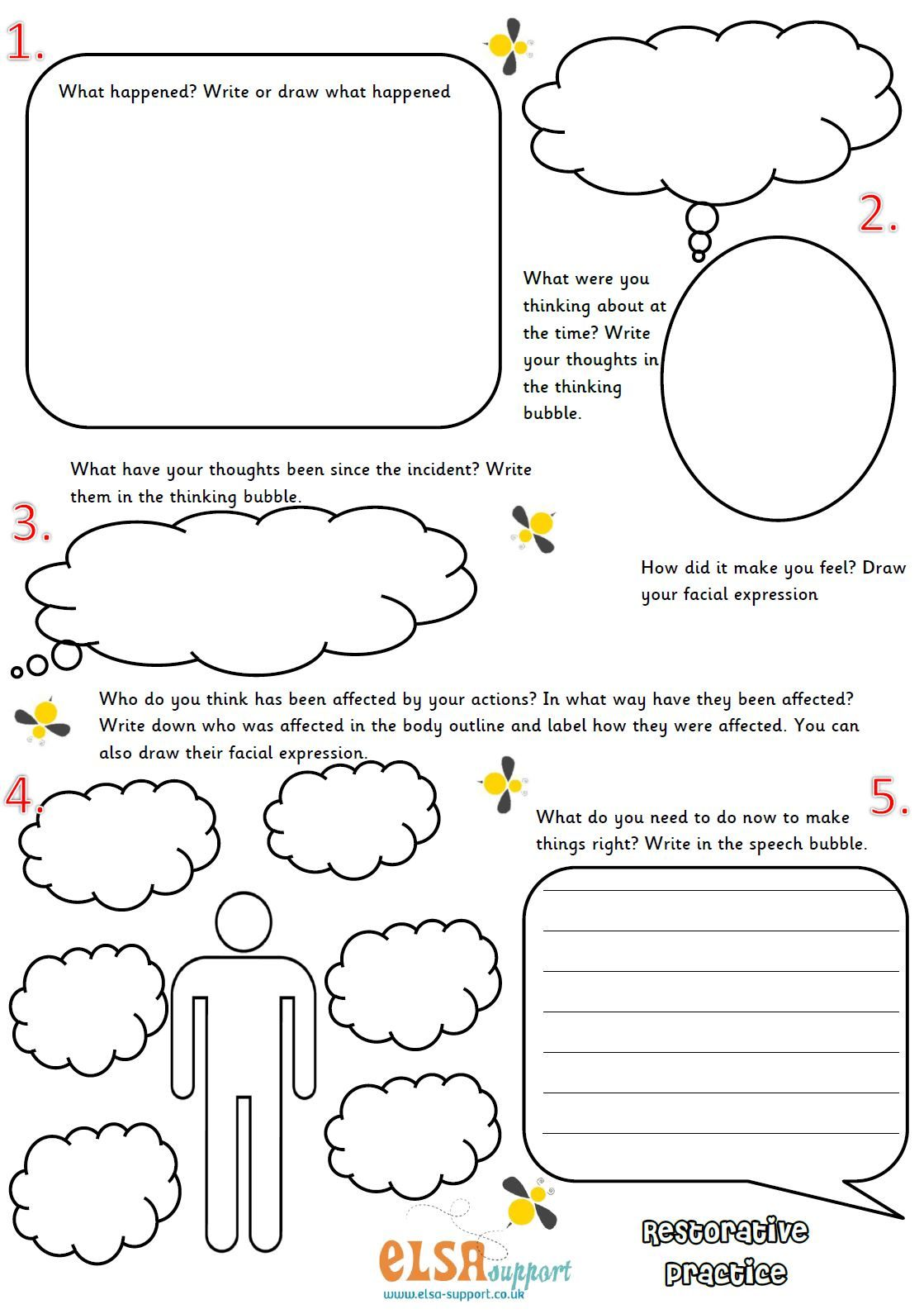 Worksheets For Therapy : Restorative practice image school pinterest