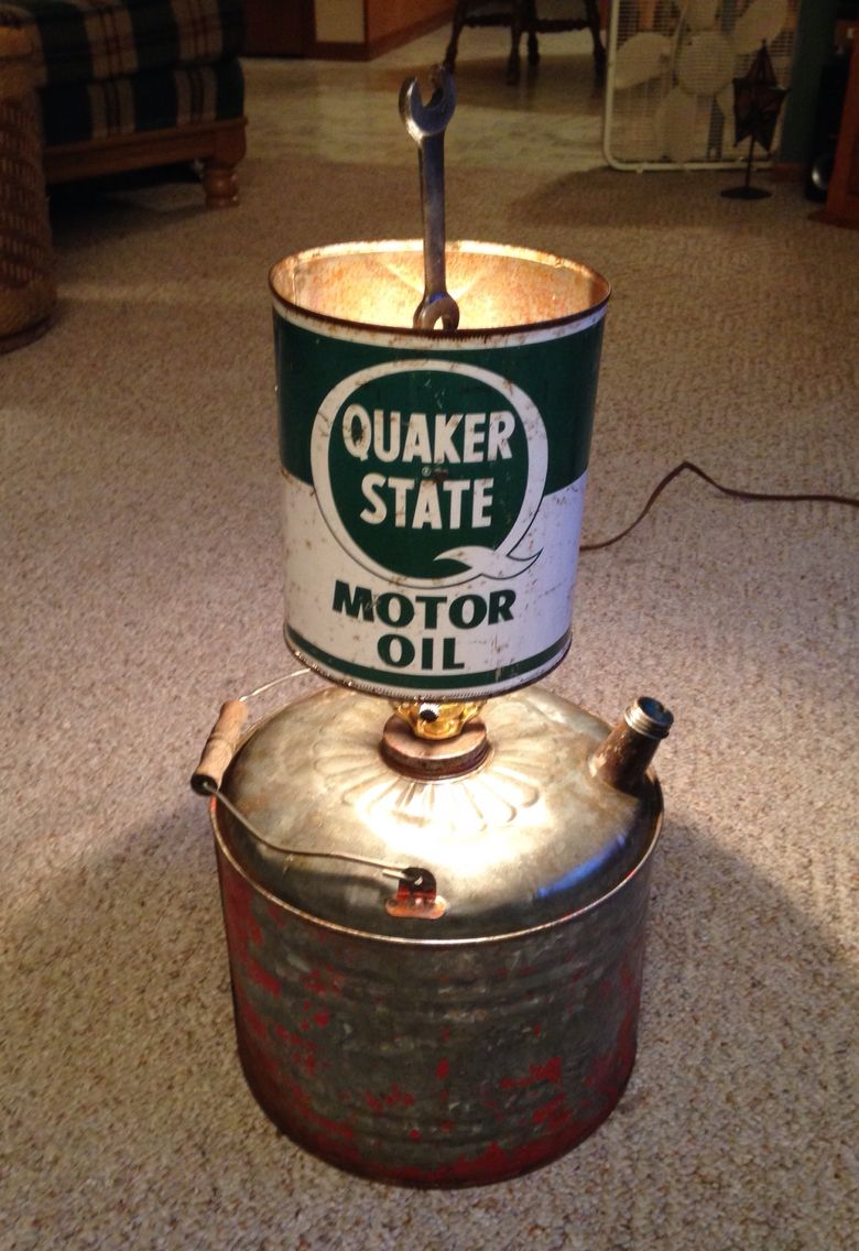 Upcycled gas can and oil can lamp with a wrench finial ...