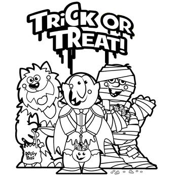 Trick Or Treat Halloween Coloring Halloween Coloring Pages Halloween Coloring Sheets